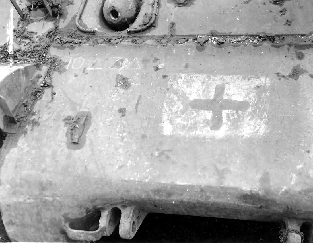M-4 Sherman tank of the 10-AD with German Cross Battle of Bulge Luxembourg 1945