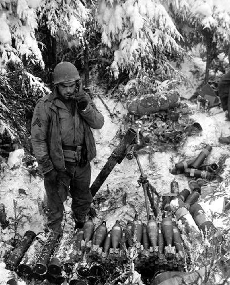 Battle of the Bulge but not 106-ID (81-MM Mortar Illustration)