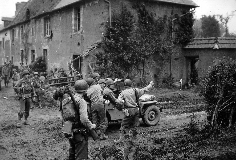 General Eddy in the jeep in Hameau de La Courmiette in Normandy July 26th, 1944