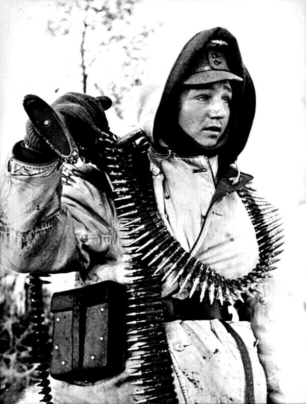 German Soldier in White Camo Parka