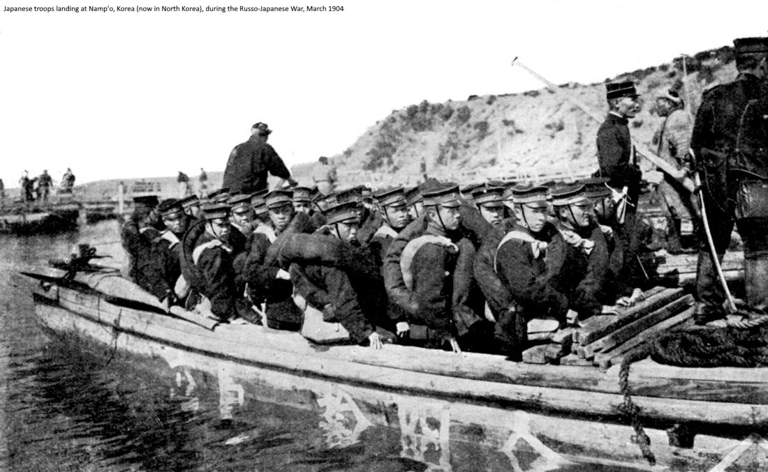 Japanese troops landing at Namp'o, Korea (now in North Korea), during the Russo-Japanese War, March 1904