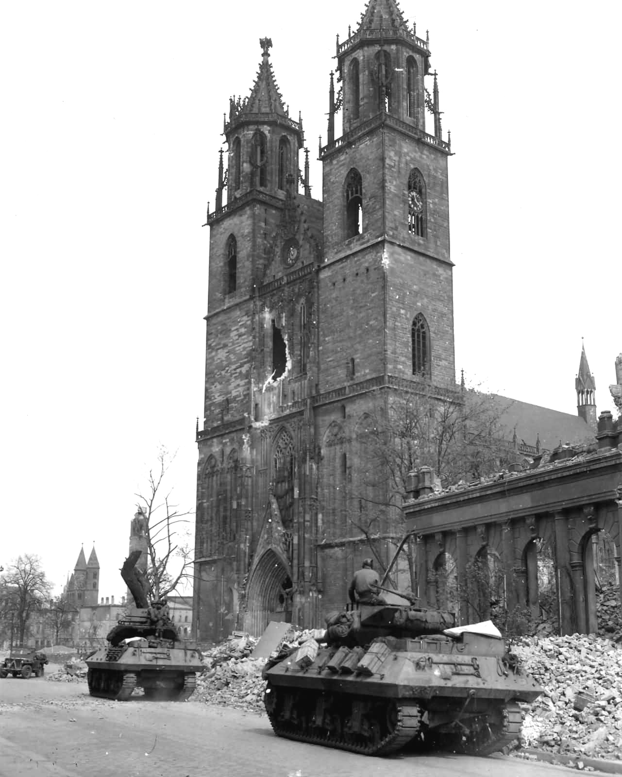 M-10 Wolverine Tank Destroyers of the 30th Infantry Division Magdeburg Germany 1945