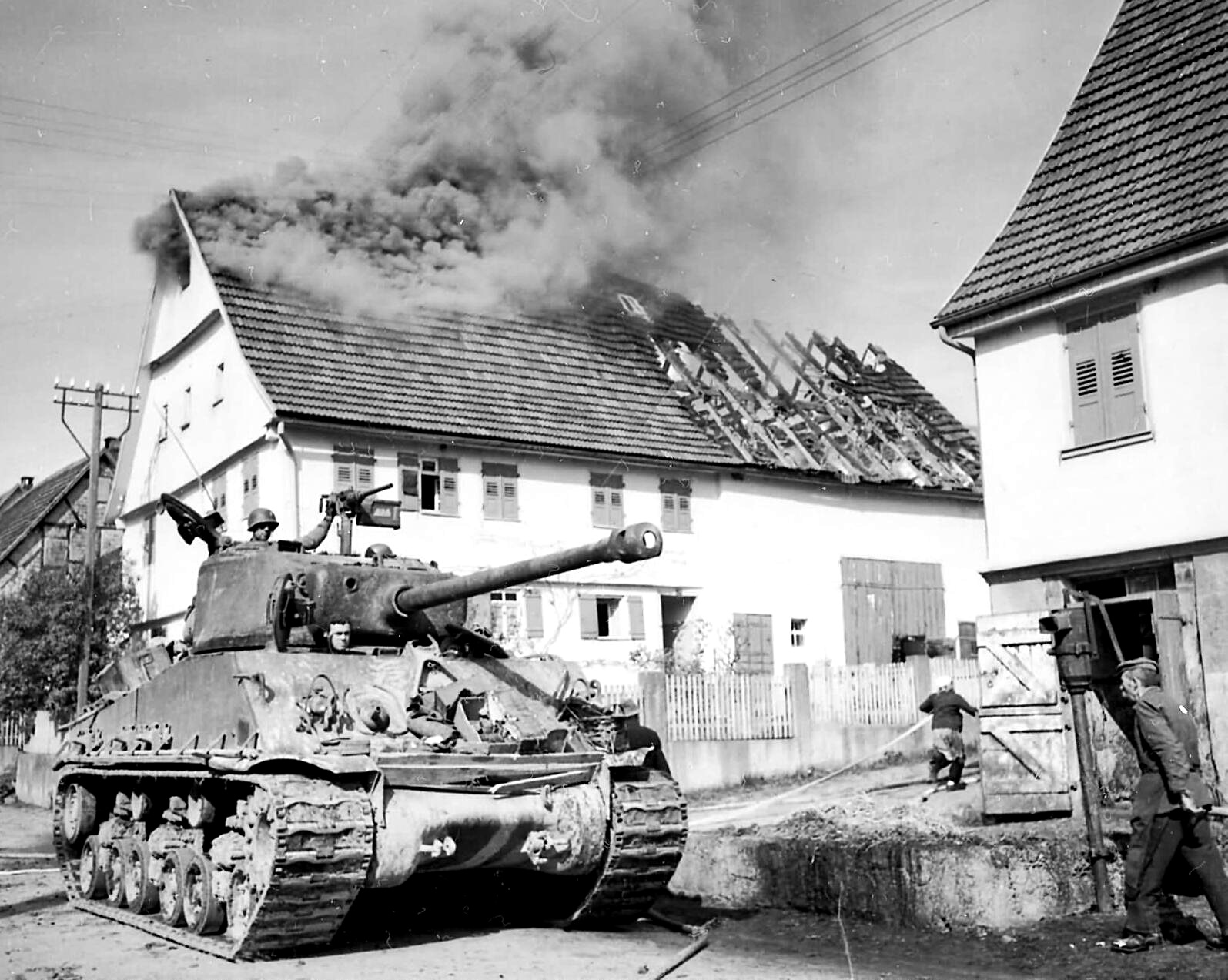 M-4A3 76.2-MM Sherman medium tank from the 21st Tank Battalion, CCA, 10-AD, Rosswalden, Germany on April 20, 1945