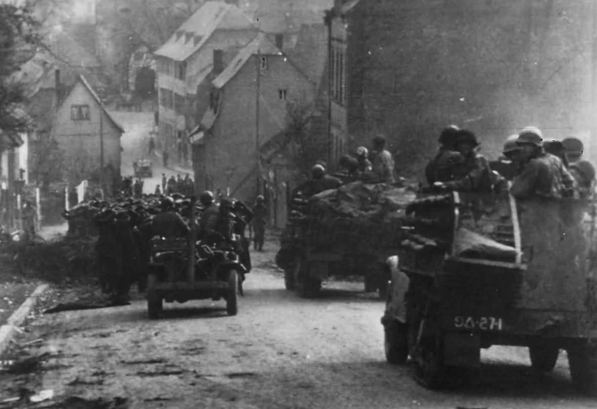 US 9th Armored Division Moving through Limburg Germany 1945