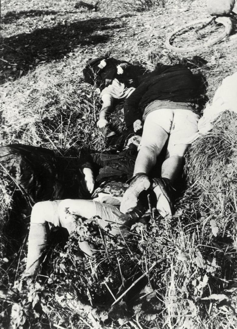 Dead women in Nemmersdorf. Note, their coats were pushed up them only afterwards