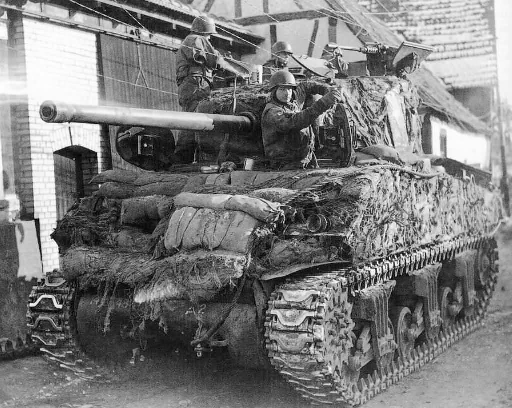 M4 76 mm Sherman Tank Sandbagged and Camouflauged