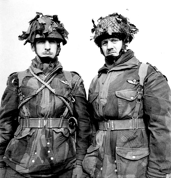 Lt Joseph M. Rousseau (left) and Lt Joseph P. Rousseau, 1st Canadian Parachute Battalion at a transit camp near Down Ampney England Feb 13, 1944. Both officers were later killed in action Philippe on Jun 7, 1944, and Maurice on Sept 20, 1944