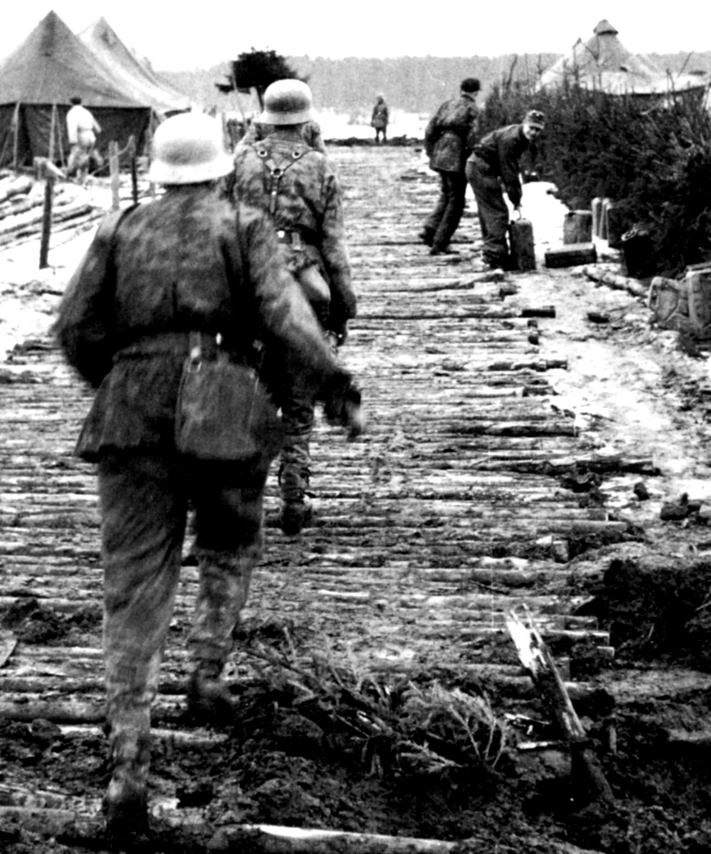 The Funny part of the Battle of the Bulge, if there would be something funny in this madness, was something like the creation of a new Combat outfit on the German side: the Waffen-SS Kanister Abteilung (on English, the SS Jerrycan Picking up Company, a unit whose only work was to collect Gasoline. This photo shows the members of the Abteilung checking the abandoned Camp of the 14th Cavalry Group for Gasoline