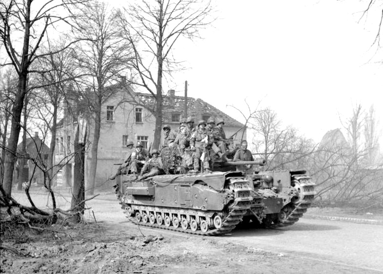 Churchill tank of 6th Guards Tank Brigade carrying paratroopers of the 17th US Airborne Division, Germany, 29 March 1945 (Source-IWM)