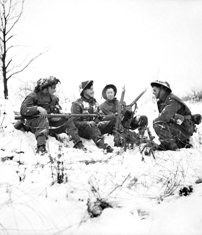 Infantry of 53rd (Welsh) Division in the snow near Hotton, Belgium, Jan 4, 1945