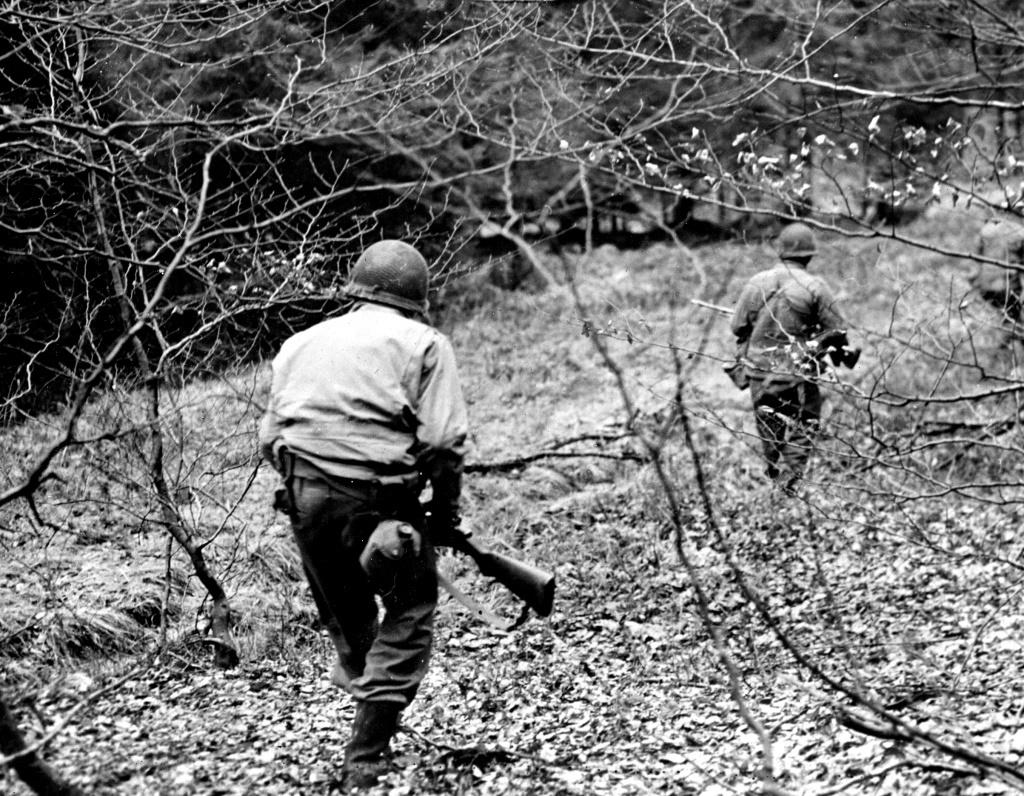 Searching for German Fallschirmjaeger, Dec 18 1944