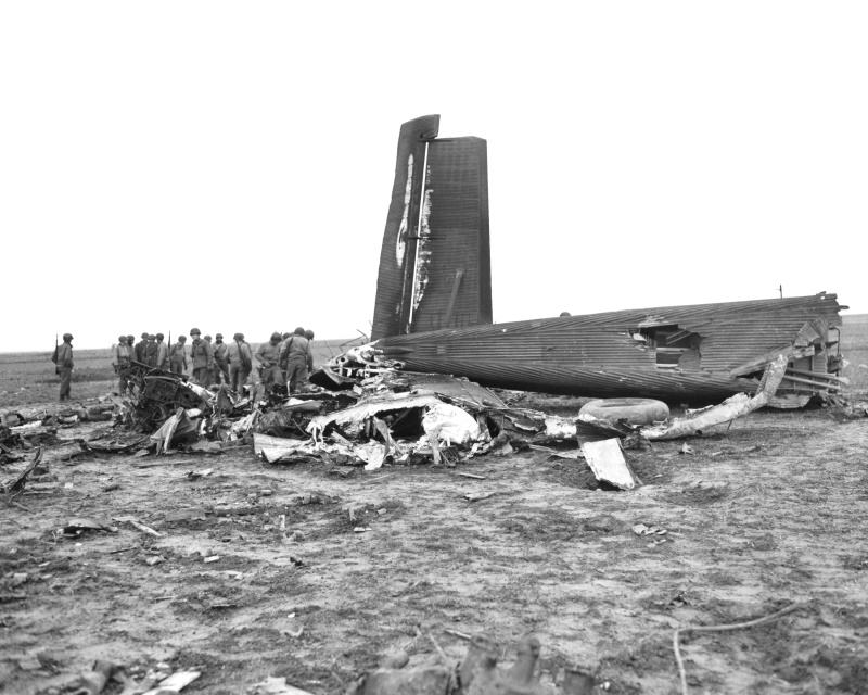 Jülich, Germany, December 17, 1944. Fallschirmjaeger Ju-52 Transport Plane shot down by the AAA of the 29-ID on their way to Belgium