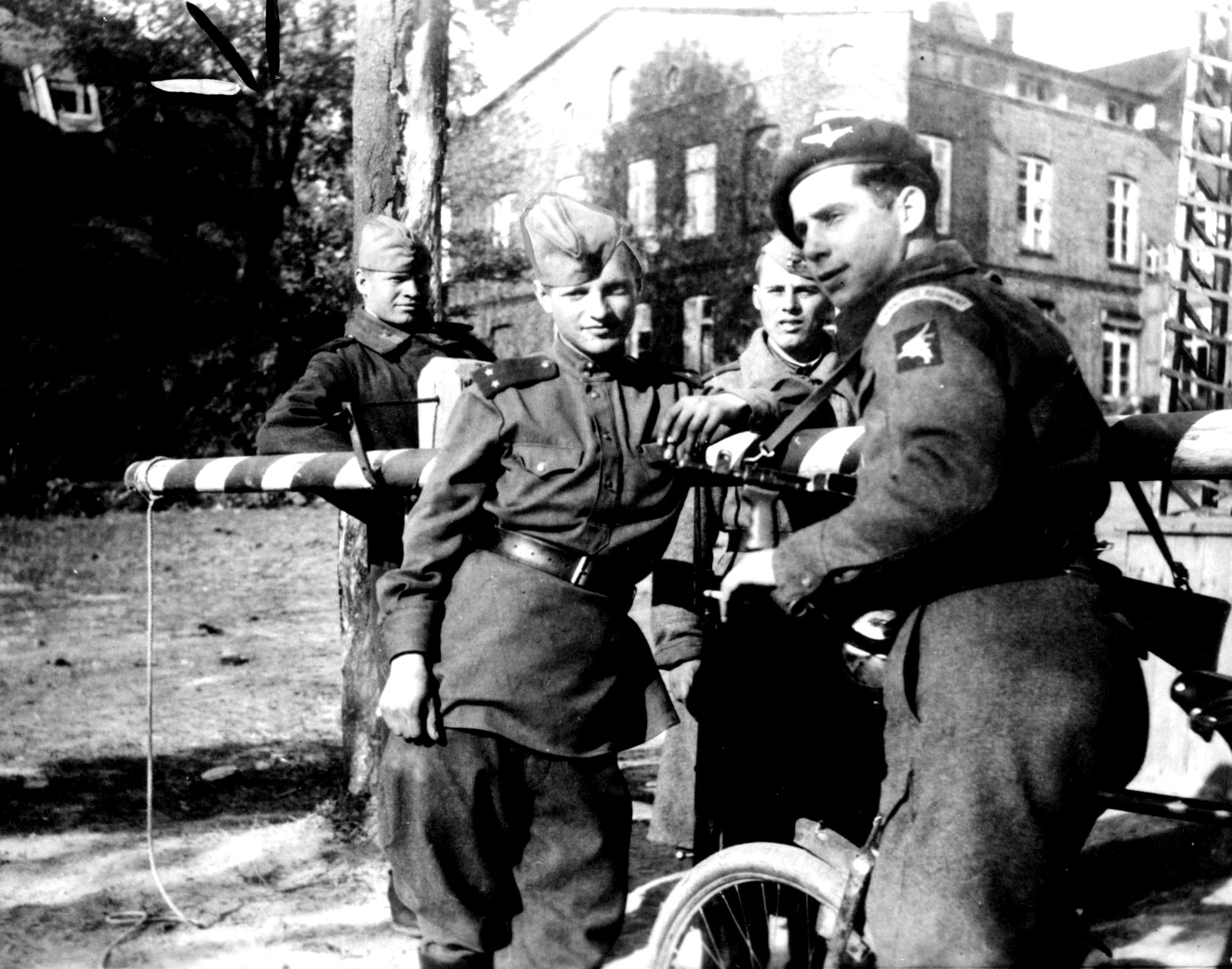 6-A/B Div paratrooper with Russians Wismar May 1945
