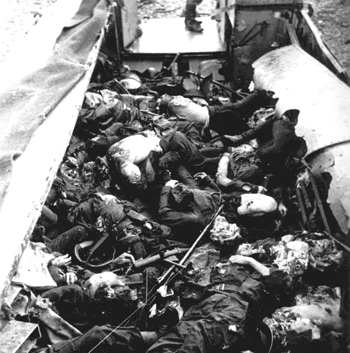 Dead Allied soldiers in landing craft at Dieppe after a direct hit by a flak88 in 1942
