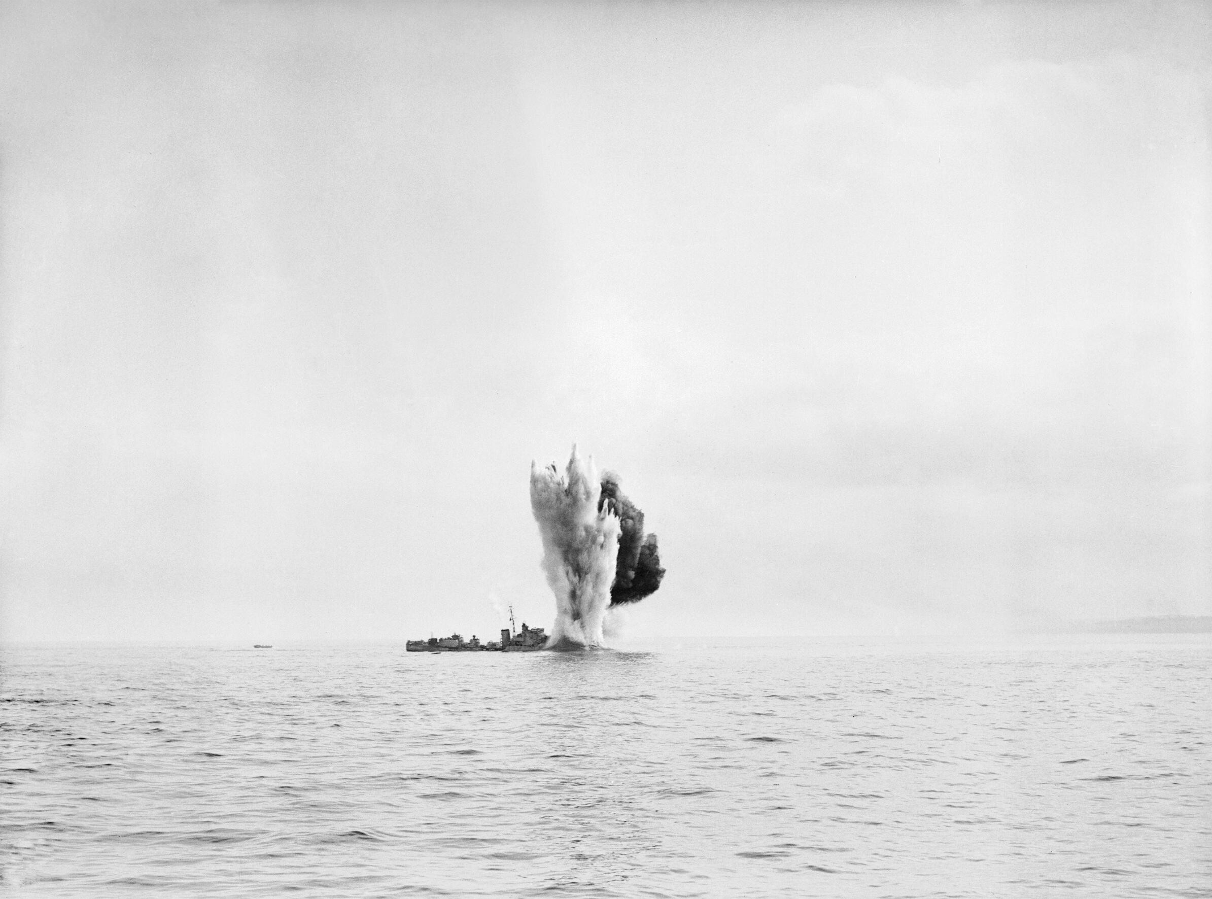 Operation Jubilee - HMS BERKELEY being torpedoed by our own forces after being bombed during the Combined Operations daylight raid on Dieppe